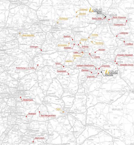 Karte von Berlin und Umgebung mit Standorten der Facility East GmbH